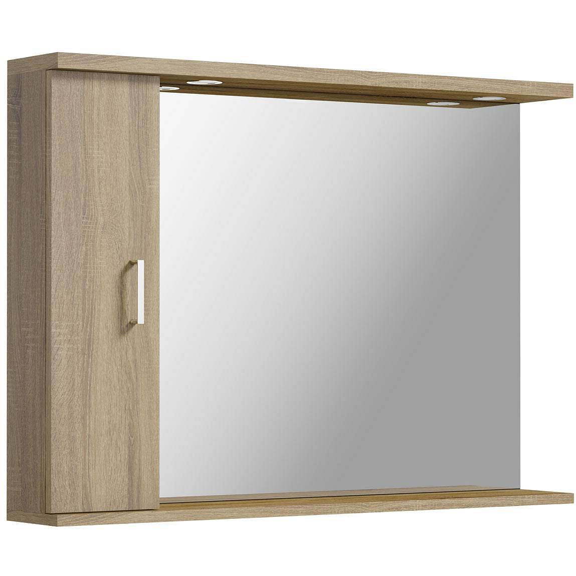 Image of Sienna Oak 105 Mirror with lights