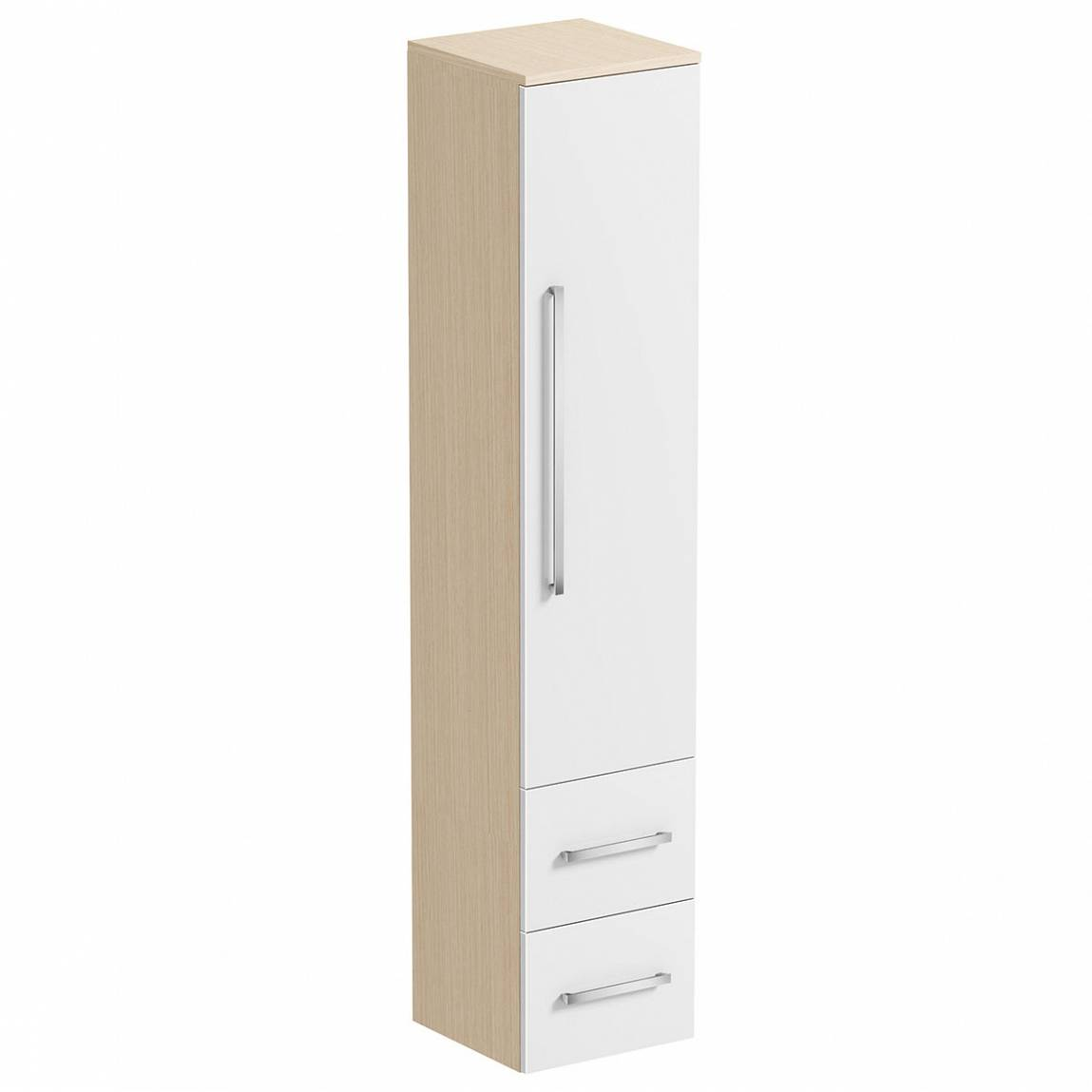 Image of Drift White & Oak Tall Cabinet