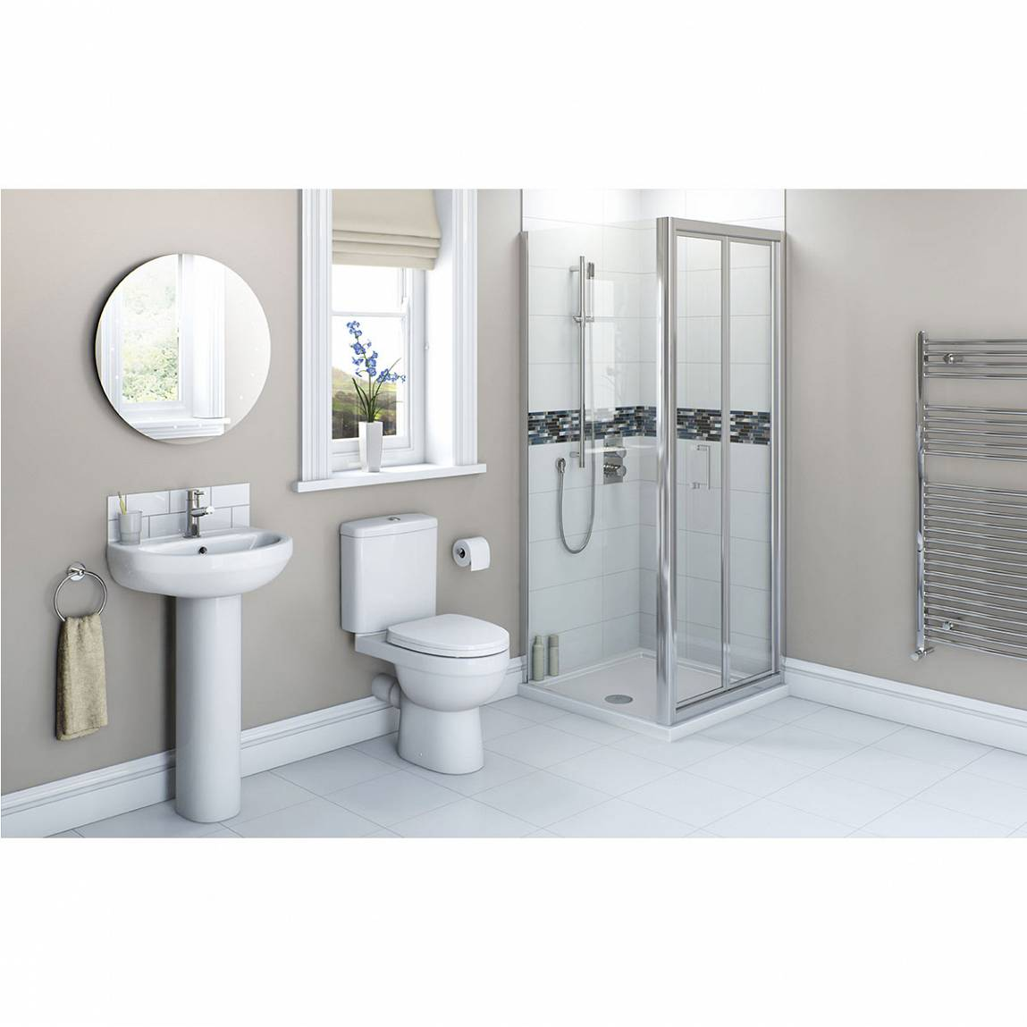 Image of Energy Bathroom Set with Bifold Enclosure Suite