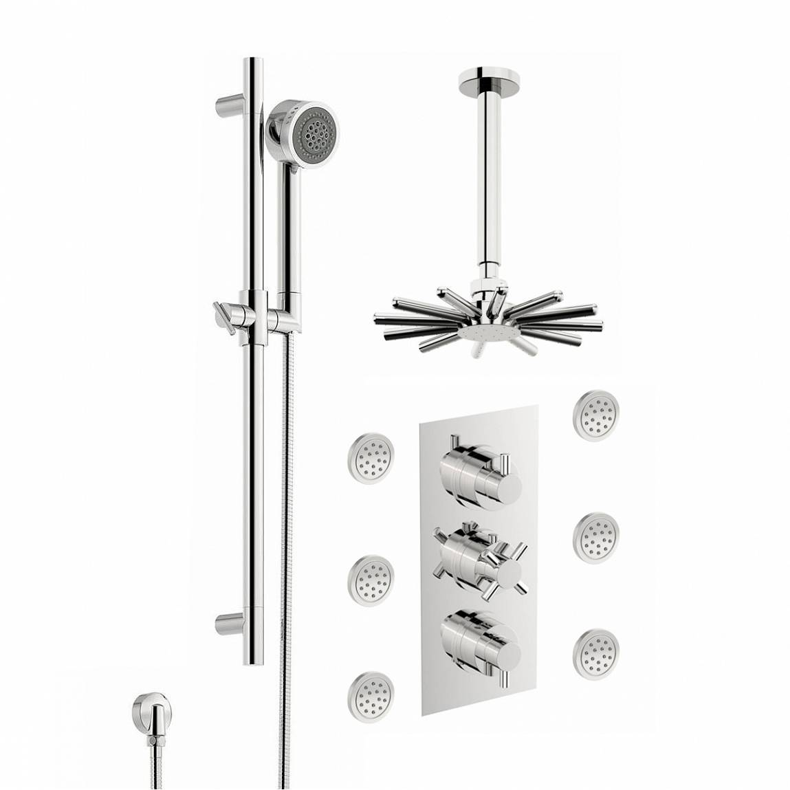 Image of Alexa Thermostatic Triple Diverter Valve, Body Jets & Shower Head Set