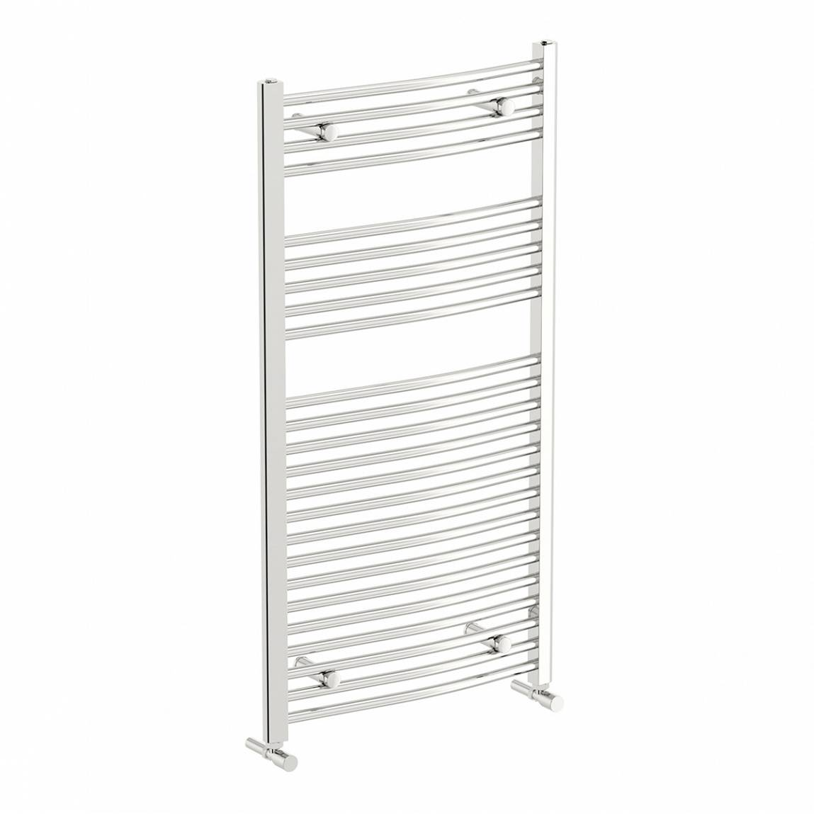 Image of Curved Heated Towel Rail 1150 x 600 PLUS Valves