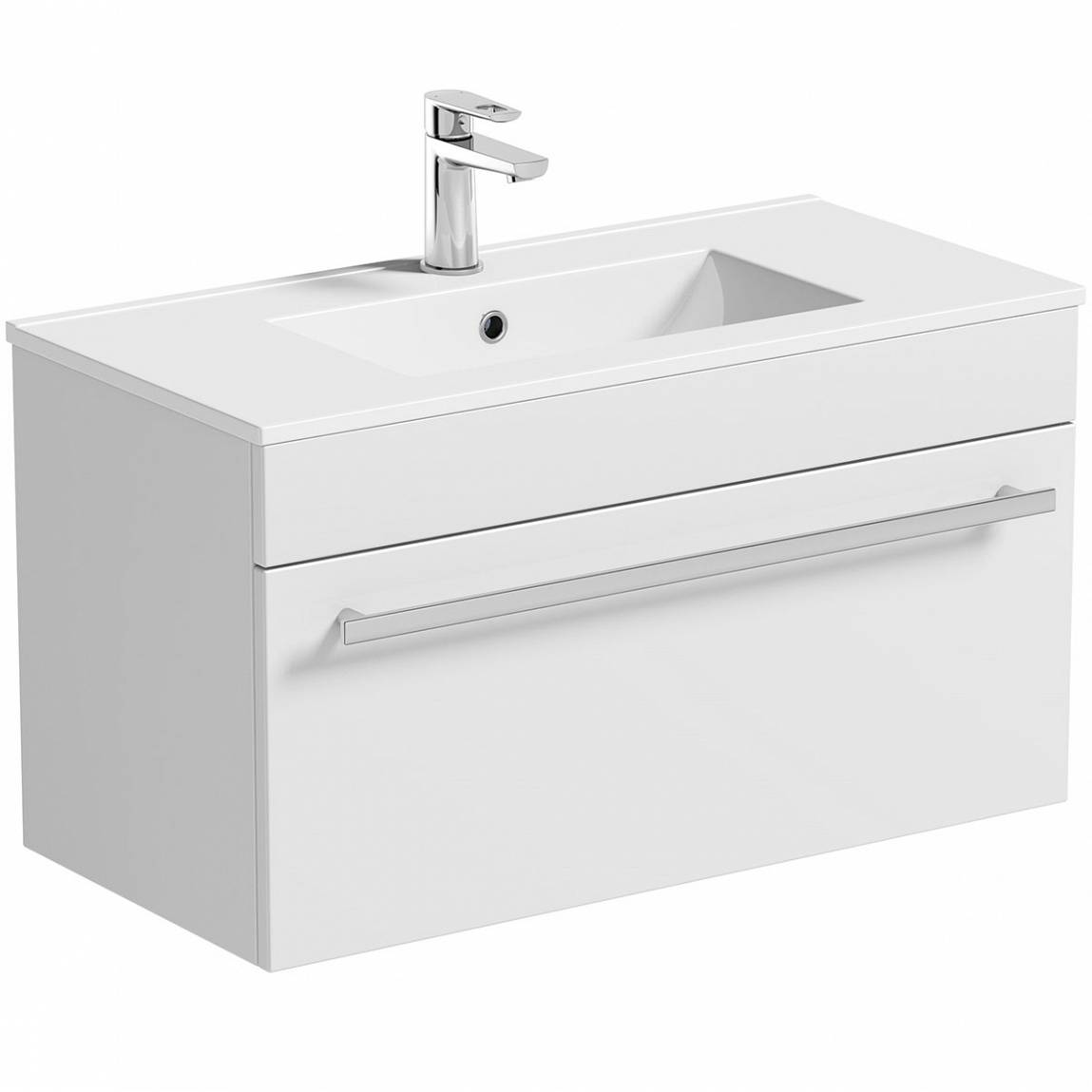 Image of Odessa White Wall Hung 800 Drawer Unit & Inset Basin