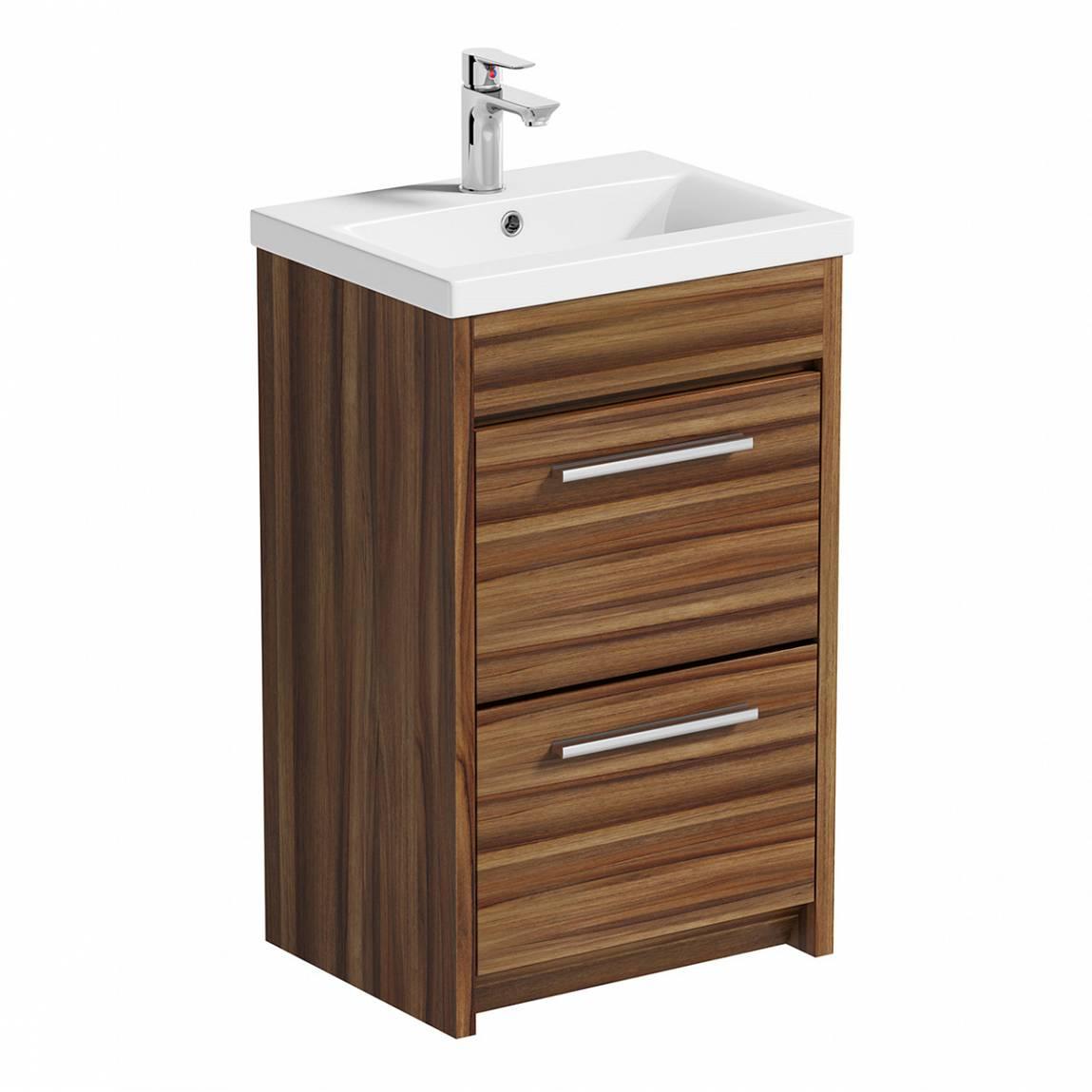 Image of Smart Walnut Floor Mounted 500 Drawer Unit & Basin