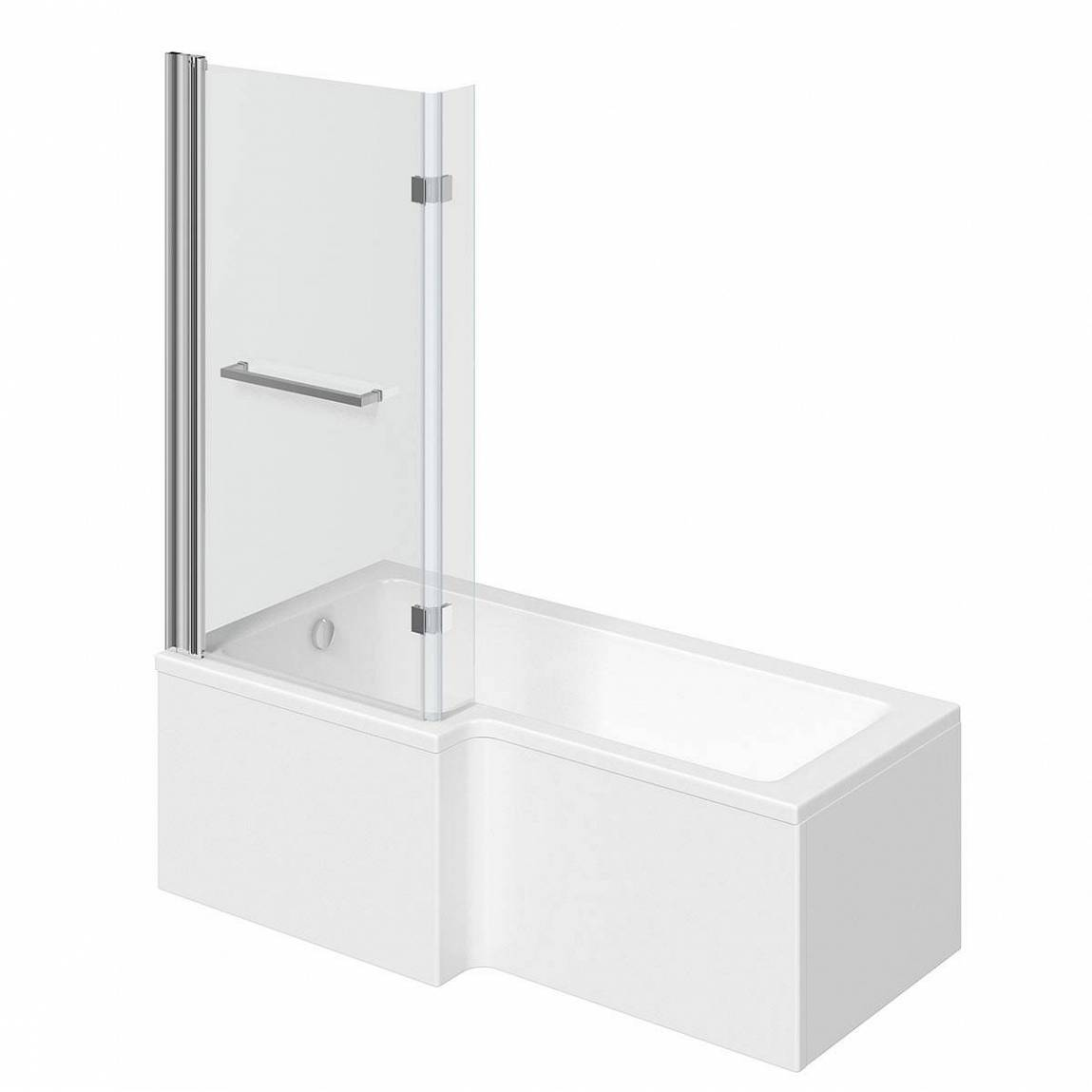Image of Boston Shower Bath 1700 x 850 LH inc. 8mm Hinged Screen with Towel Rail