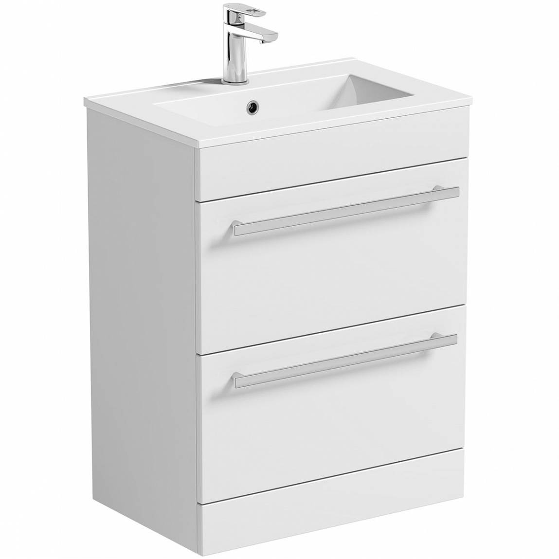 Image of Odessa White Floor Mounted 600 Drawer Unit & Basin