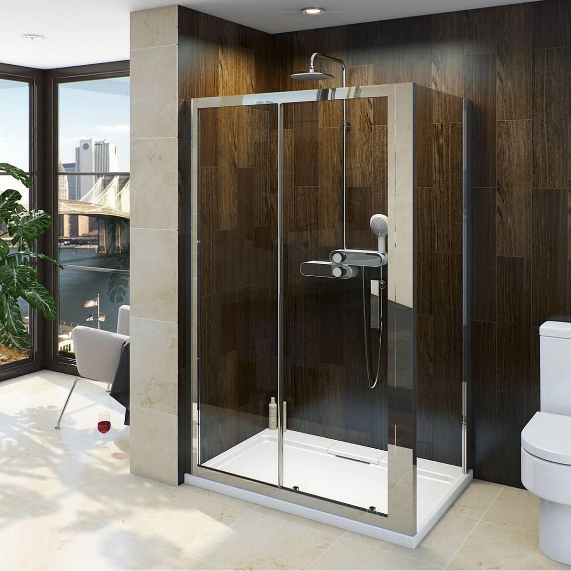 Image of V8 Framed Sliding Shower Enclosure 1400 x 800