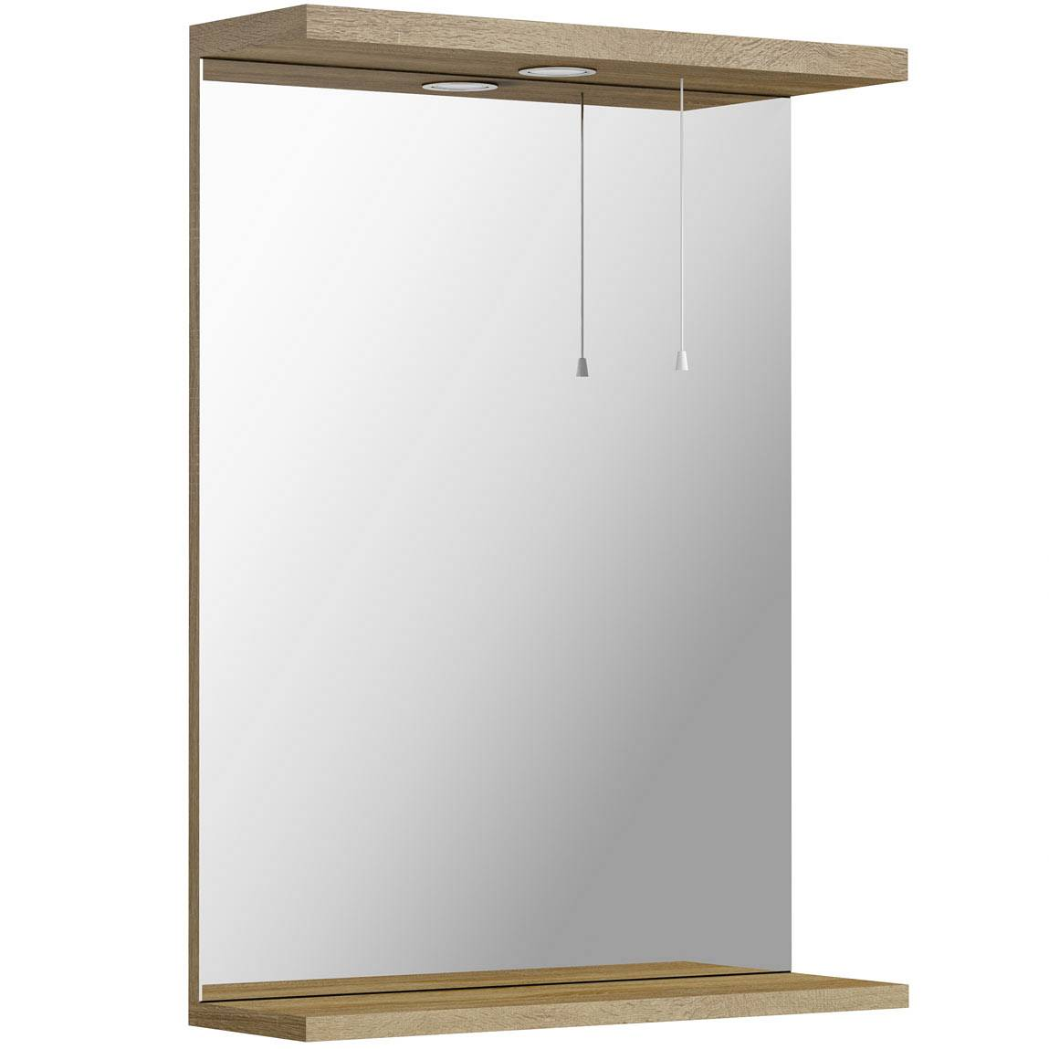 Image of Sienna Oak 55 Mirror with lights