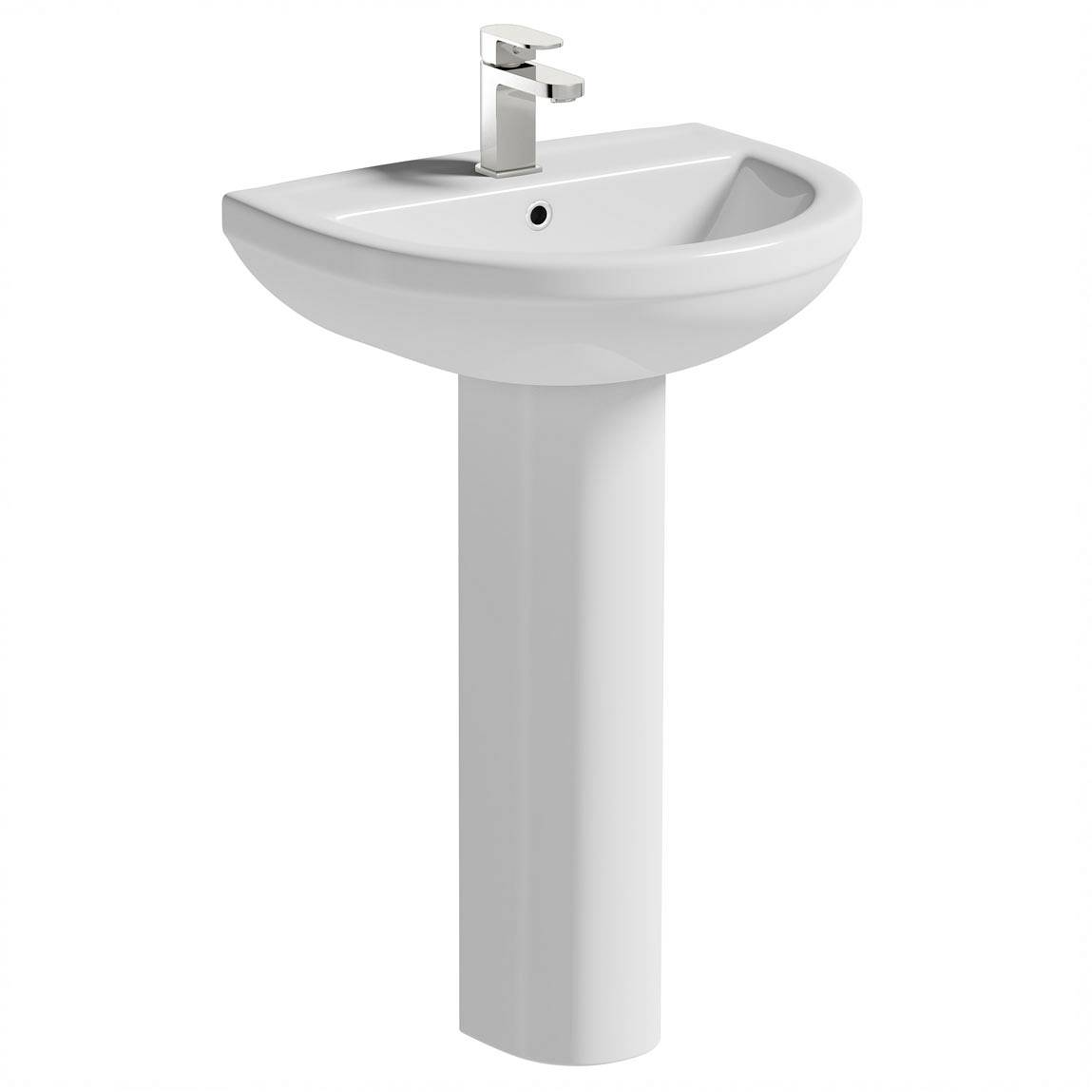 Image of Oakley 500mm 1TH Basin & Full Pedestal