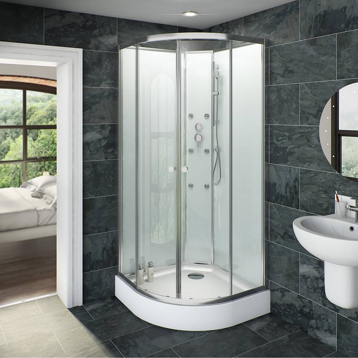 Image of V6 Quadrant Glass Backed Shower Cabin 900