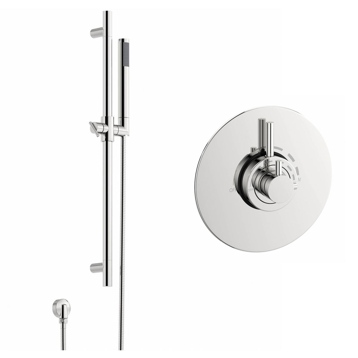 Image of Minimalist Thermostatic Dual Valve and Riser Rail Set
