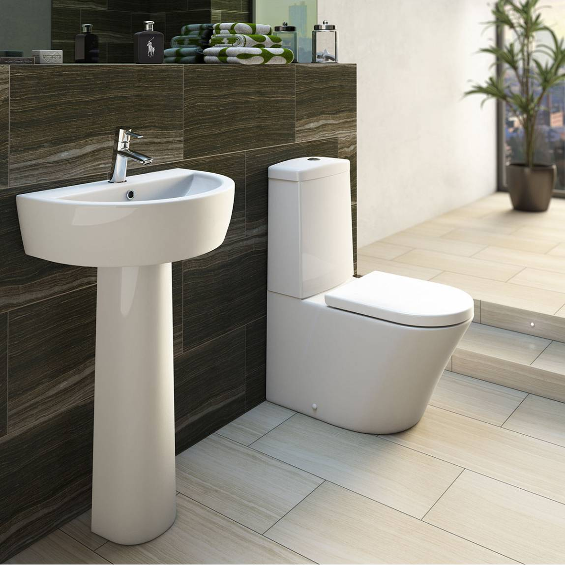 Arc Close Coupled Toilet inc. Quick Release Soft Close Seat