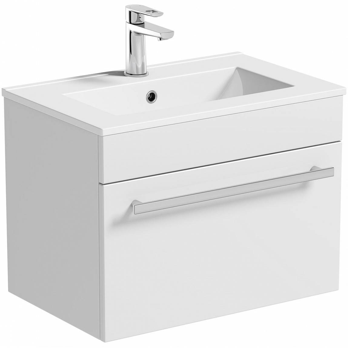 Image of Odessa White Wall Hung 600 Drawer Unit & Inset Basin