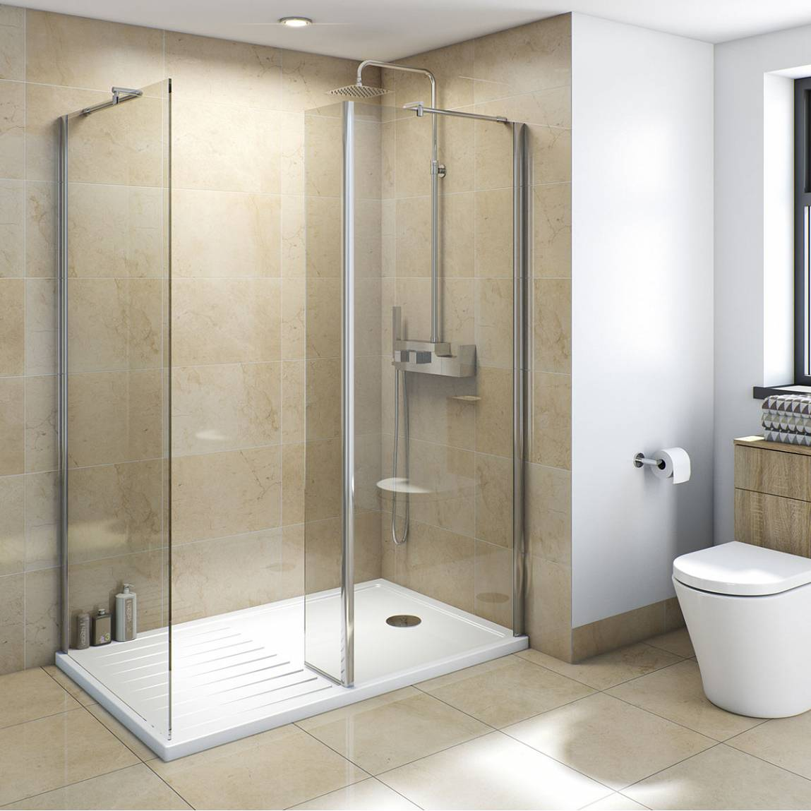Image of V8+ Walk in Shower Enclosure Pack 1600 x 800