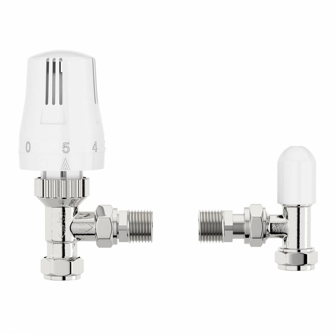 Image of Thermostatic White Angled Radiator Valves