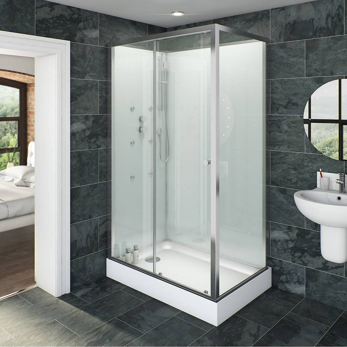 Image of V6 Rectangular Glass Backed Shower Cabin 1200 x 800
