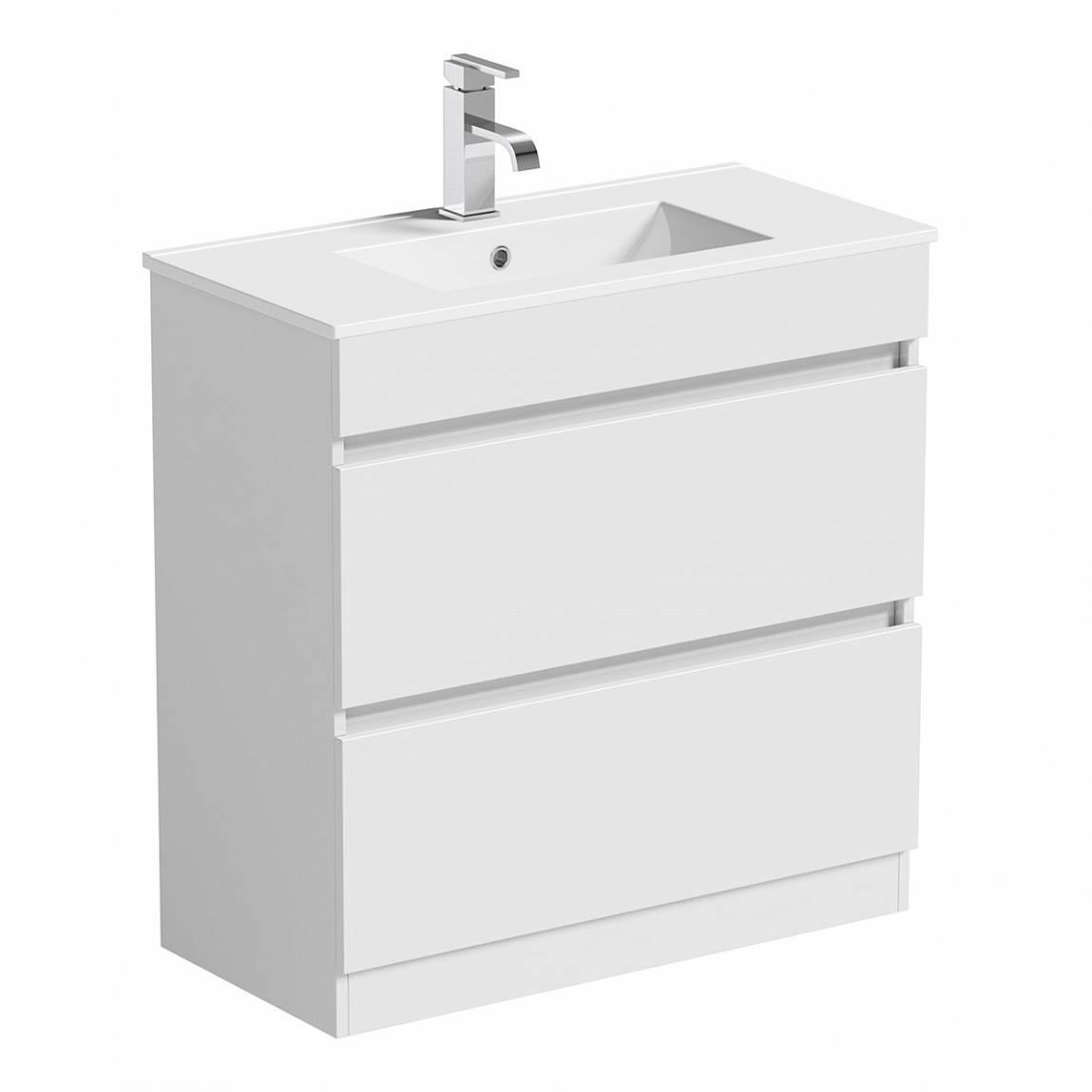 Image of Plan White Floor Mounted 800 Drawer Unit & Basin