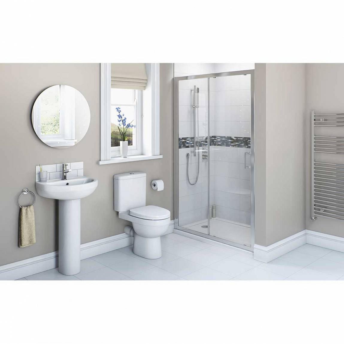 Image of Energy Bathroom set with Sliding Shower Door 1200