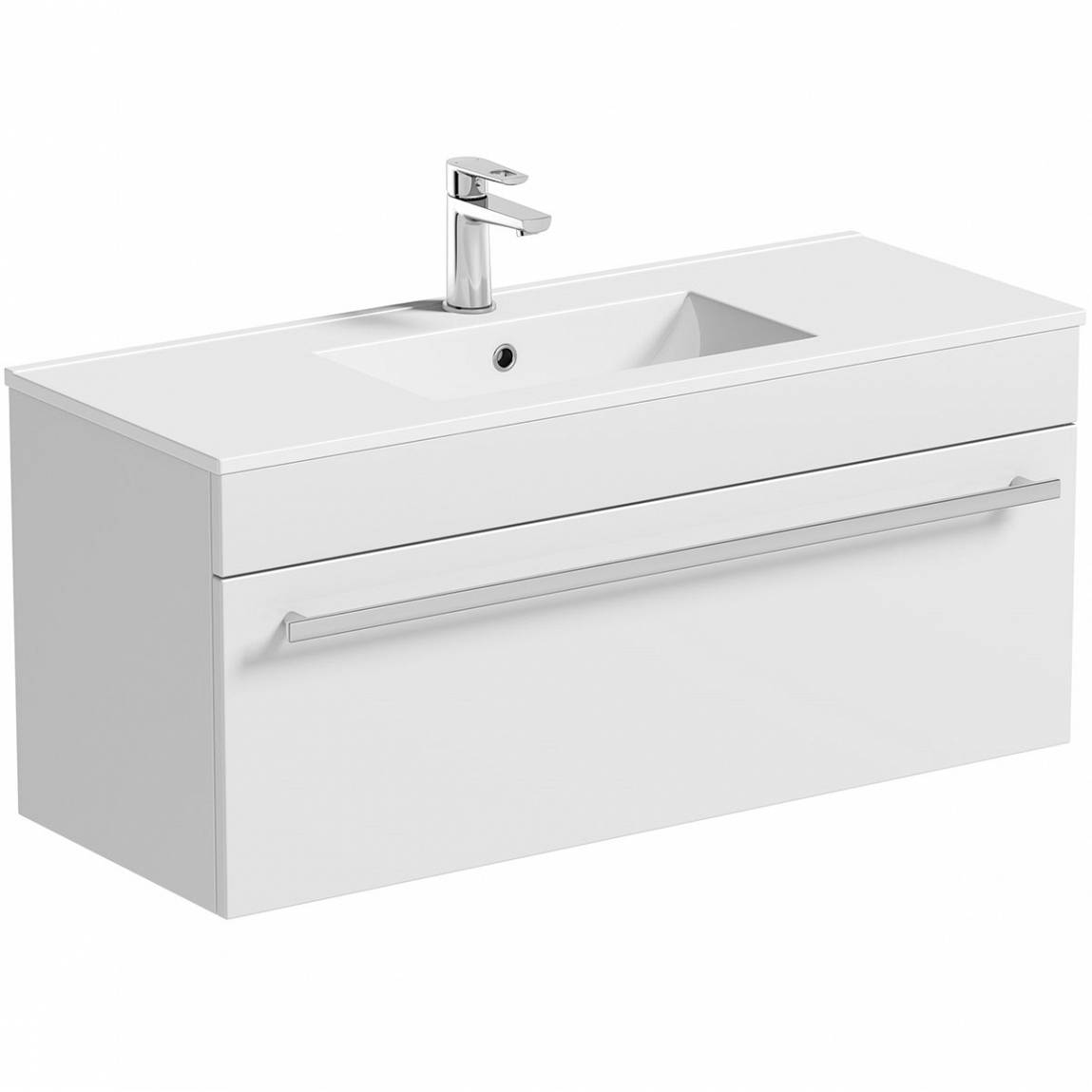 Image of Odessa White Wall Hung 1000 Drawer Unit & Inset Basin
