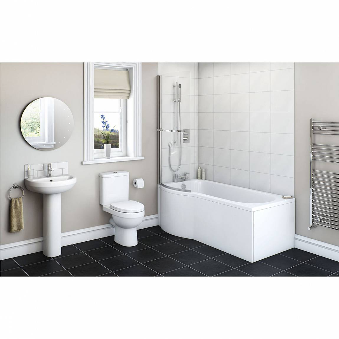 Image of Energy Bathroom Set with Evesham 1500 x 800 Shower Bath Suite LH