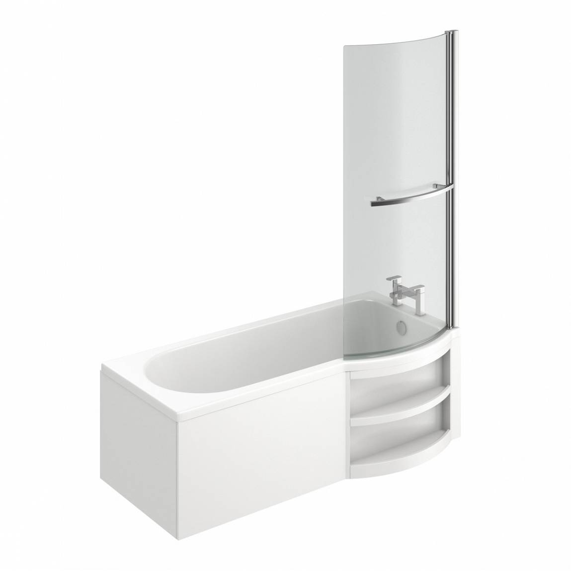 Image of MySpace Water Saving P Shape Shower Bath Right Hand with Storage Panel & 6mm Screen with Towel Rail