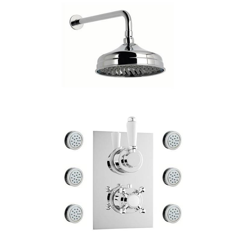 Image of Traditional Thermostatic Twin Diverter Valve, Body Jets & Shower Head Set