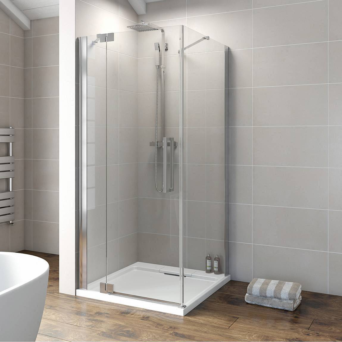Image of V8+ Frameless Hinged Shower Enclosure 900 LH