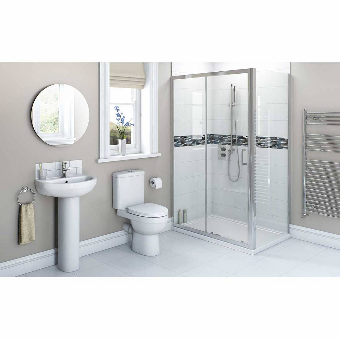 Image of Energy Bathroom set with 1000x700 Sliding Enclosure & Tray
