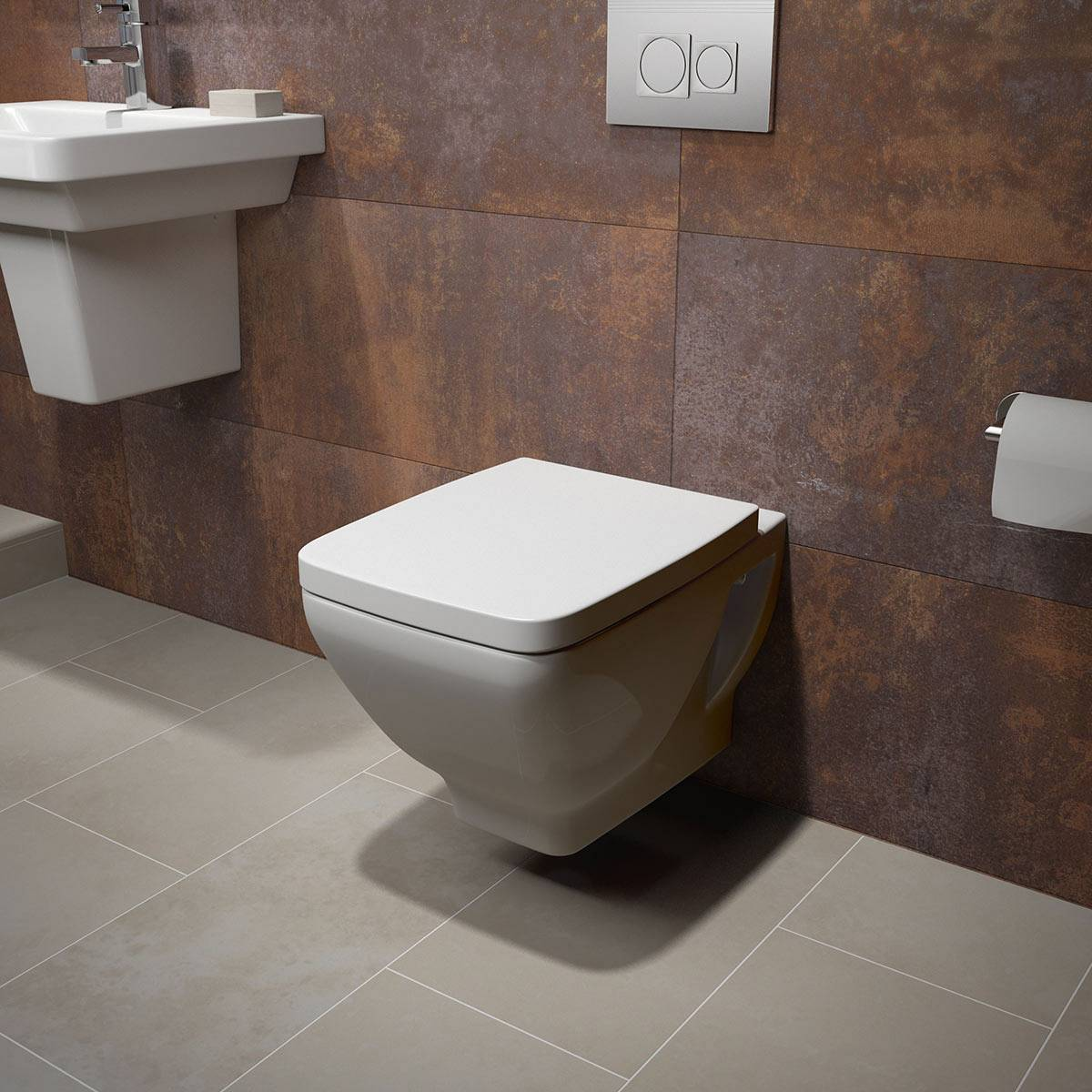 Verso wall hung toilet inc seat for Small wall mounted toilet