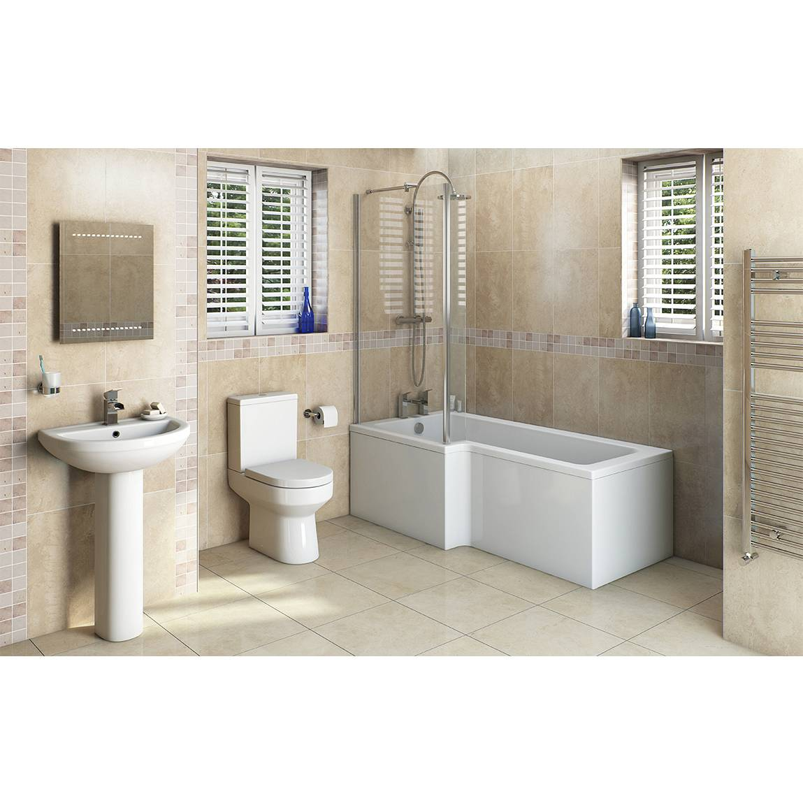 Image of Oakley Bathroom Suite with Boston 1700 x 850 Shower Bath LH & Free Tap
