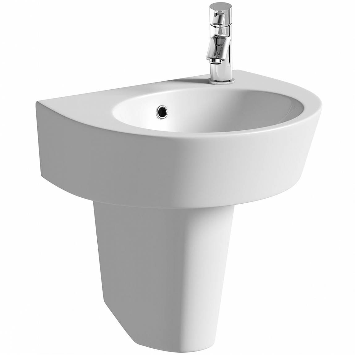 Image of Ancona 1TH 550mm Basin & Semi Pedestal PLUS Waste