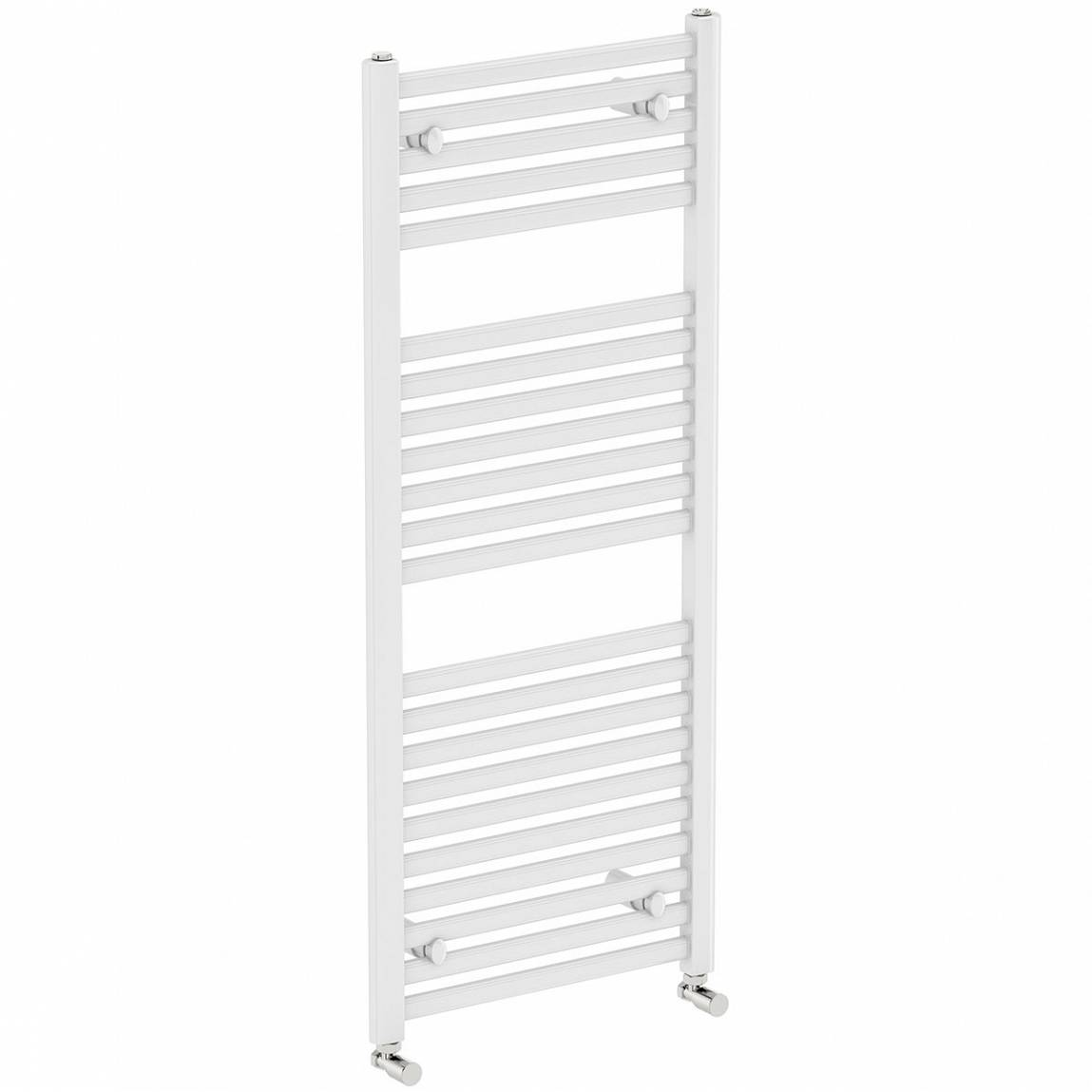 Image of White Heated Towel Rail 1200 x 600 PLUS Valves