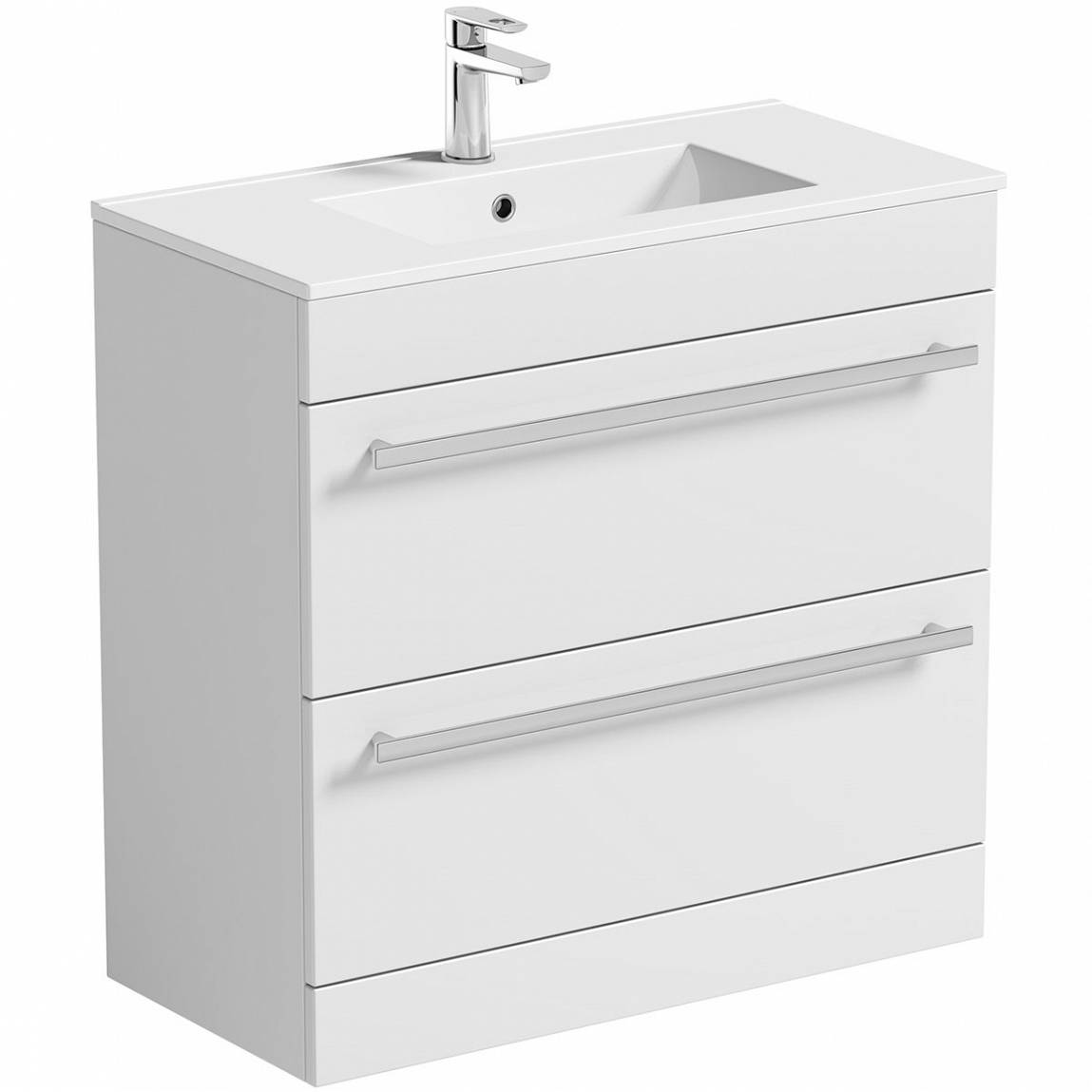 Image of Odessa White Floor Mounted 800 Drawer Unit & Basin