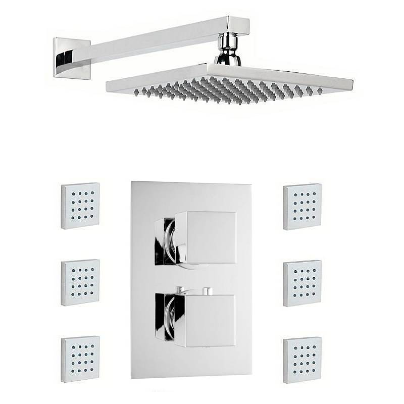 Image of Cubik Thermostatic Twin Diverter Valve, Body Jets & Shower Head Set