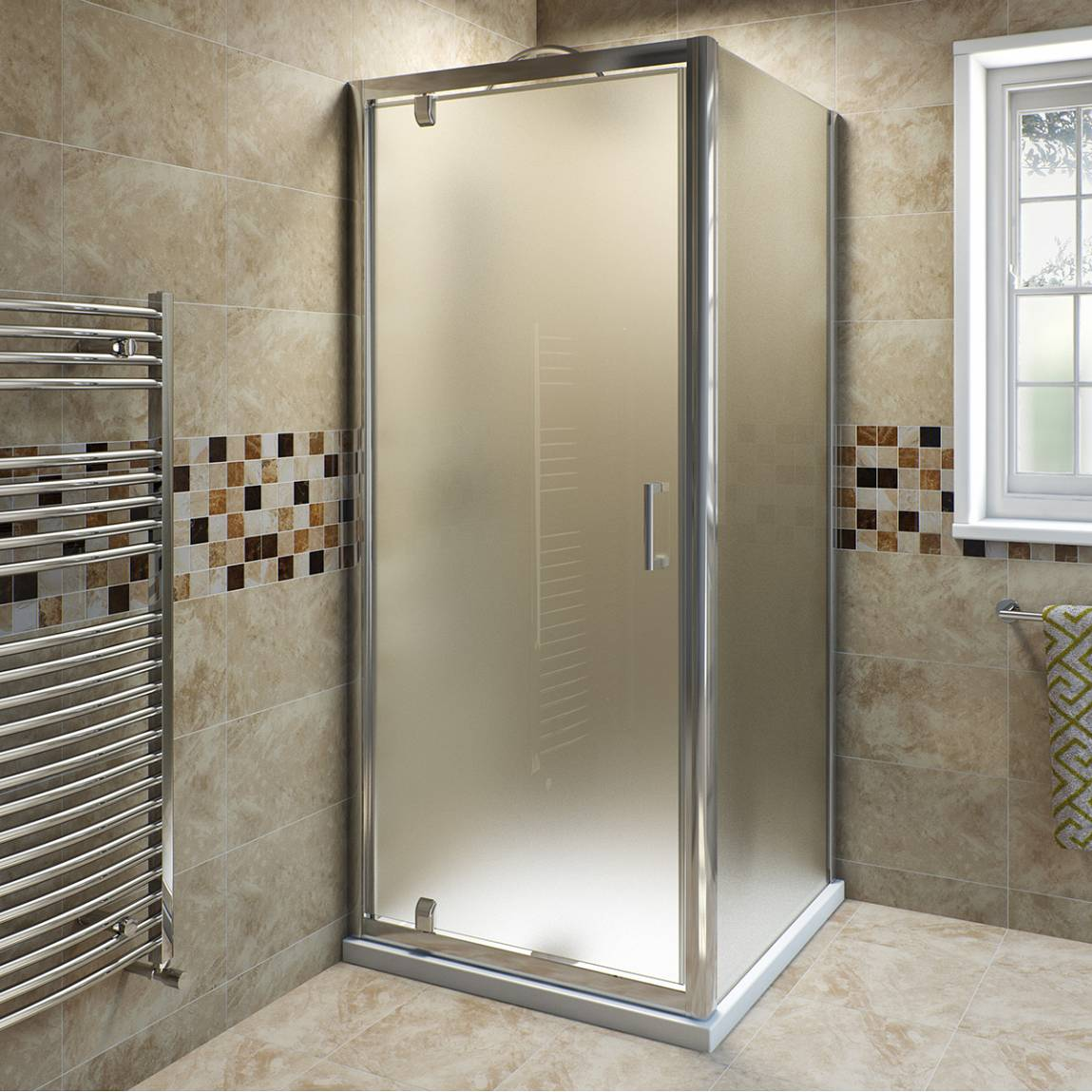 Image of V6 Pivot Frosted Glass Enclosure 900 x 800