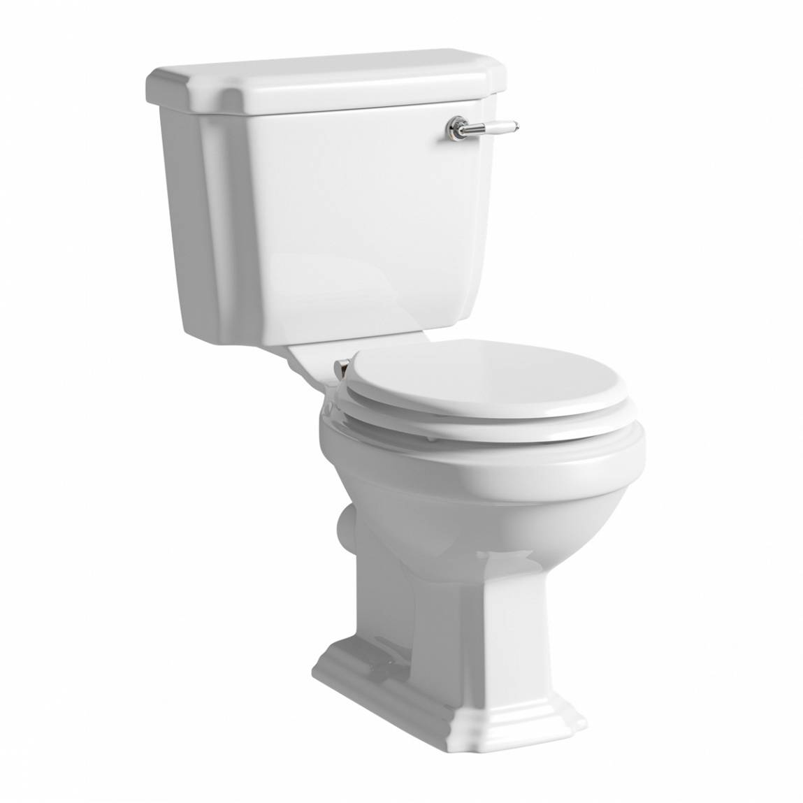 Image of Cavendish Close Coupled Toilet with White Seat and Ceramic Handle Flush