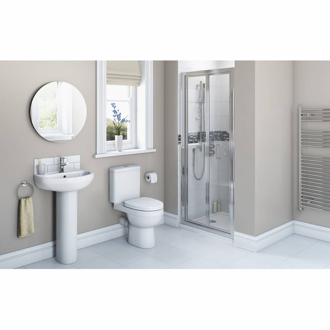 Image of Energy Bathroom set with Bifold Shower Door 900