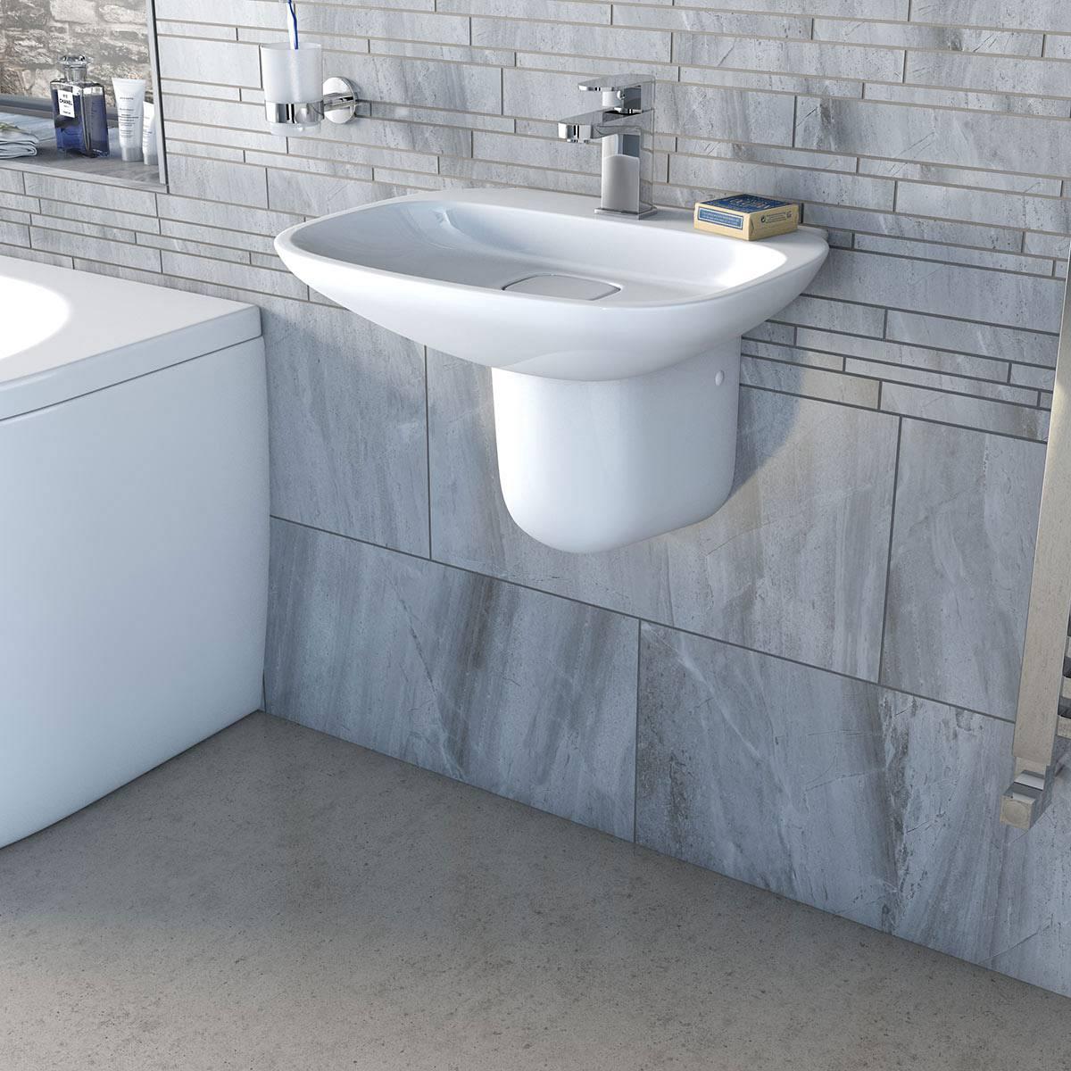 Bathroom Pedestal Sinks Ideas Fairbanks 1th 500mm Basin And Semi Pedestal Victoriaplum Com
