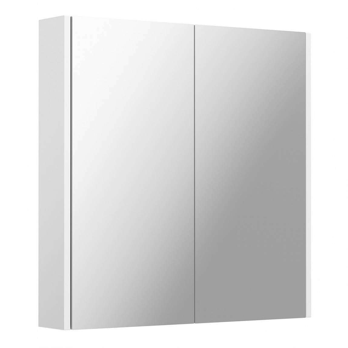 White 2 Door Bathroom Mirror Cabinet VictoriaPlum.com