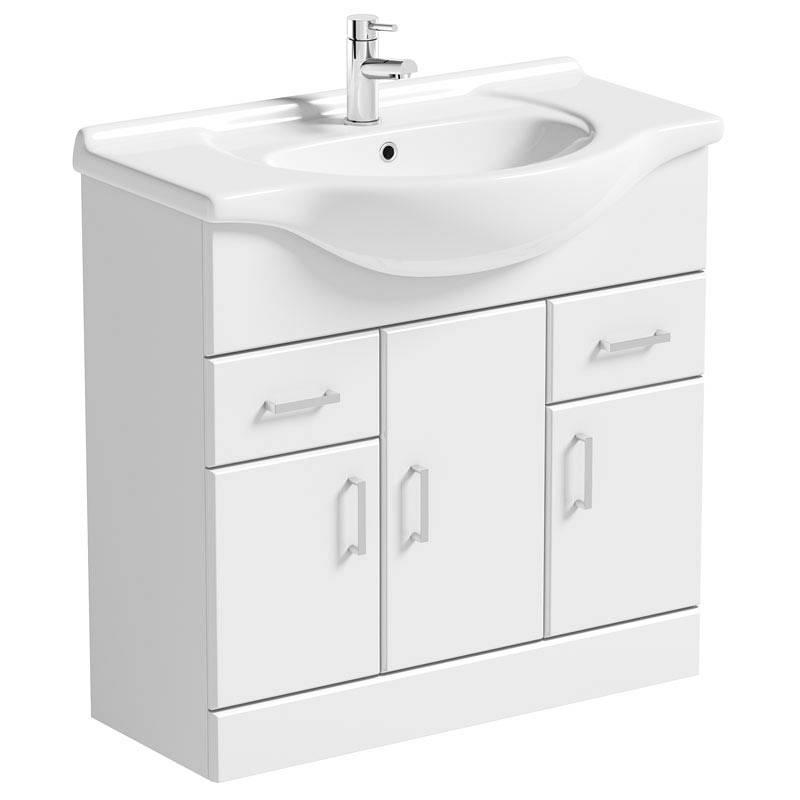Image of Sienna White 85 Vanity Unit & Basin
