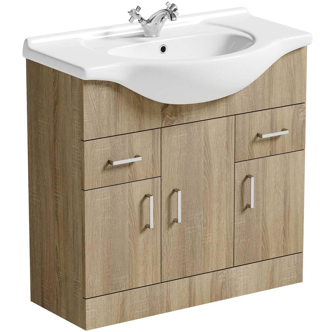 Image of Sienna Oak 85 Vanity Unit & Basin