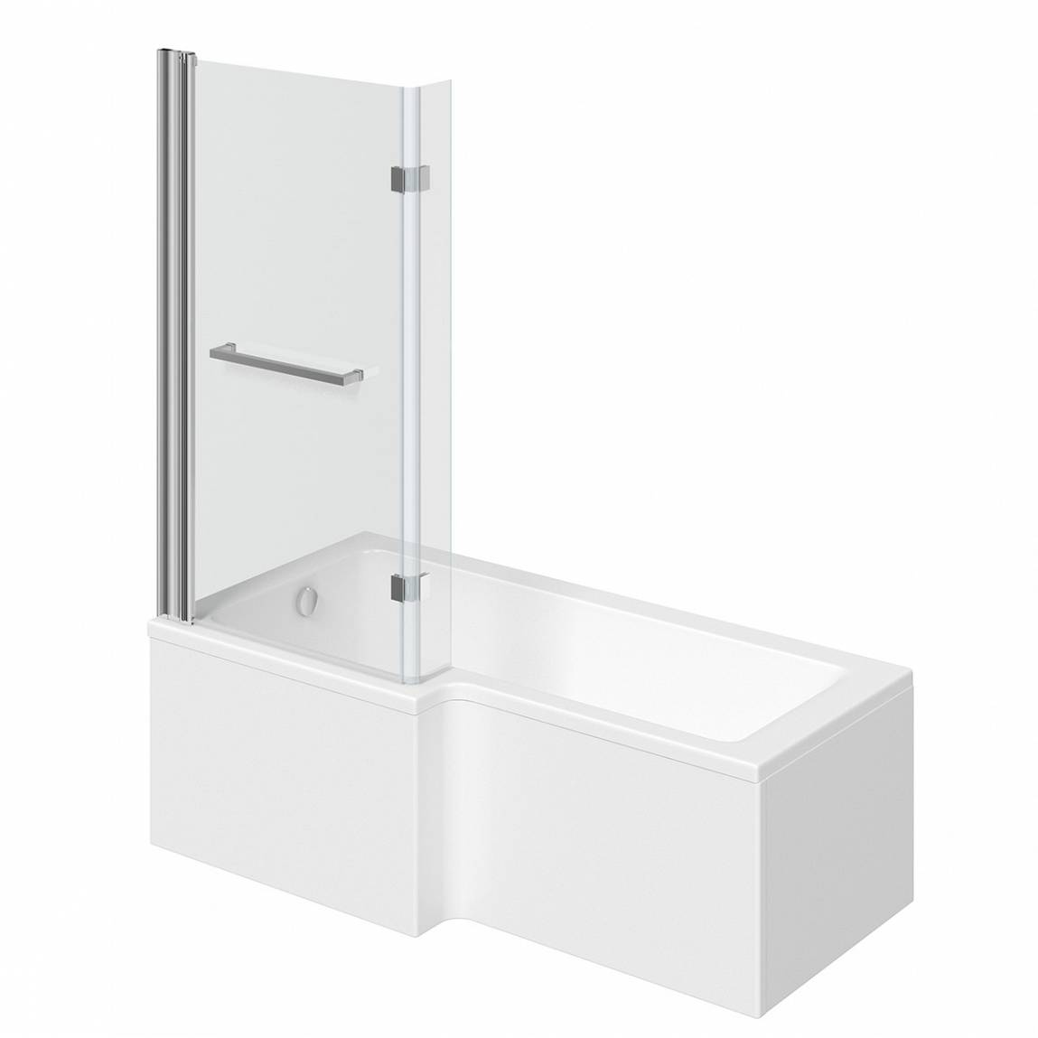 Image of Boston Shower Bath 1500 x 850 LH with 8mm Hinged Screen with Towel Rail