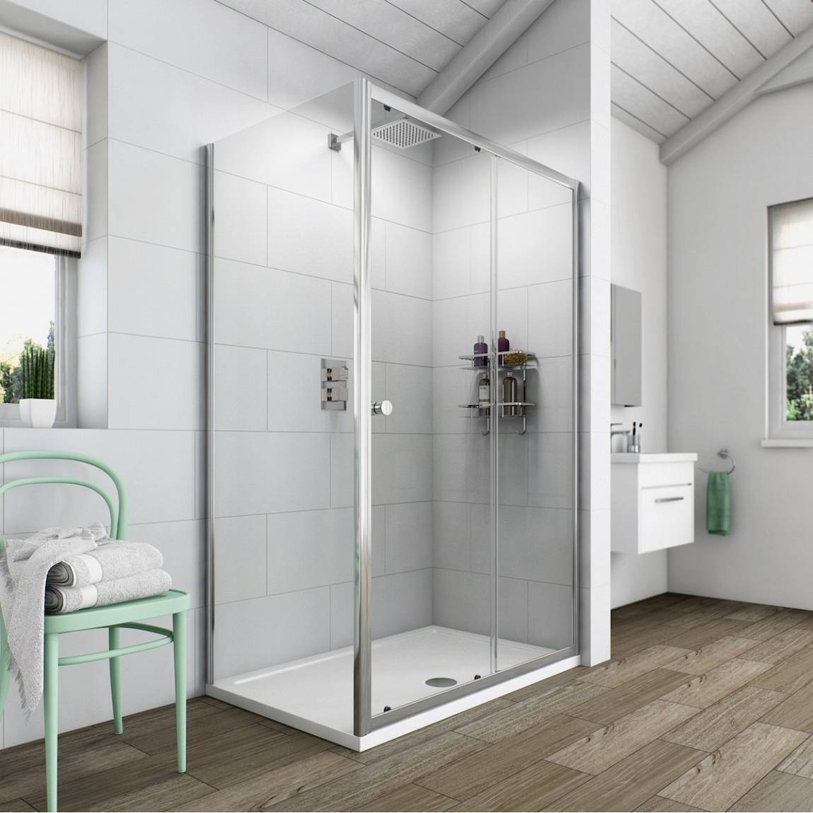 Image of Simplicity 6mm 1200 x 800 Sliding Shower Enclosure