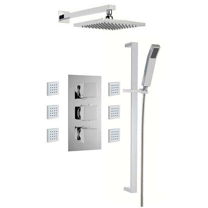 Image of Cubik Complete Thermostatic Wall Shower Set