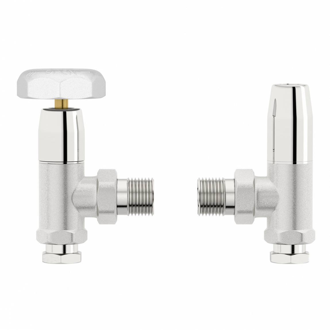 Image of Traditional Angled Radiator Valves with White Handle