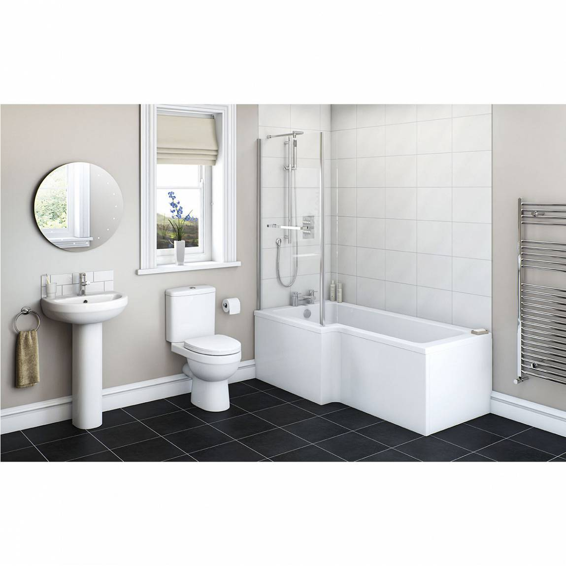 Image of Energy Bathroom Set with Boston 1500 x 850 Shower Bath Suite LH