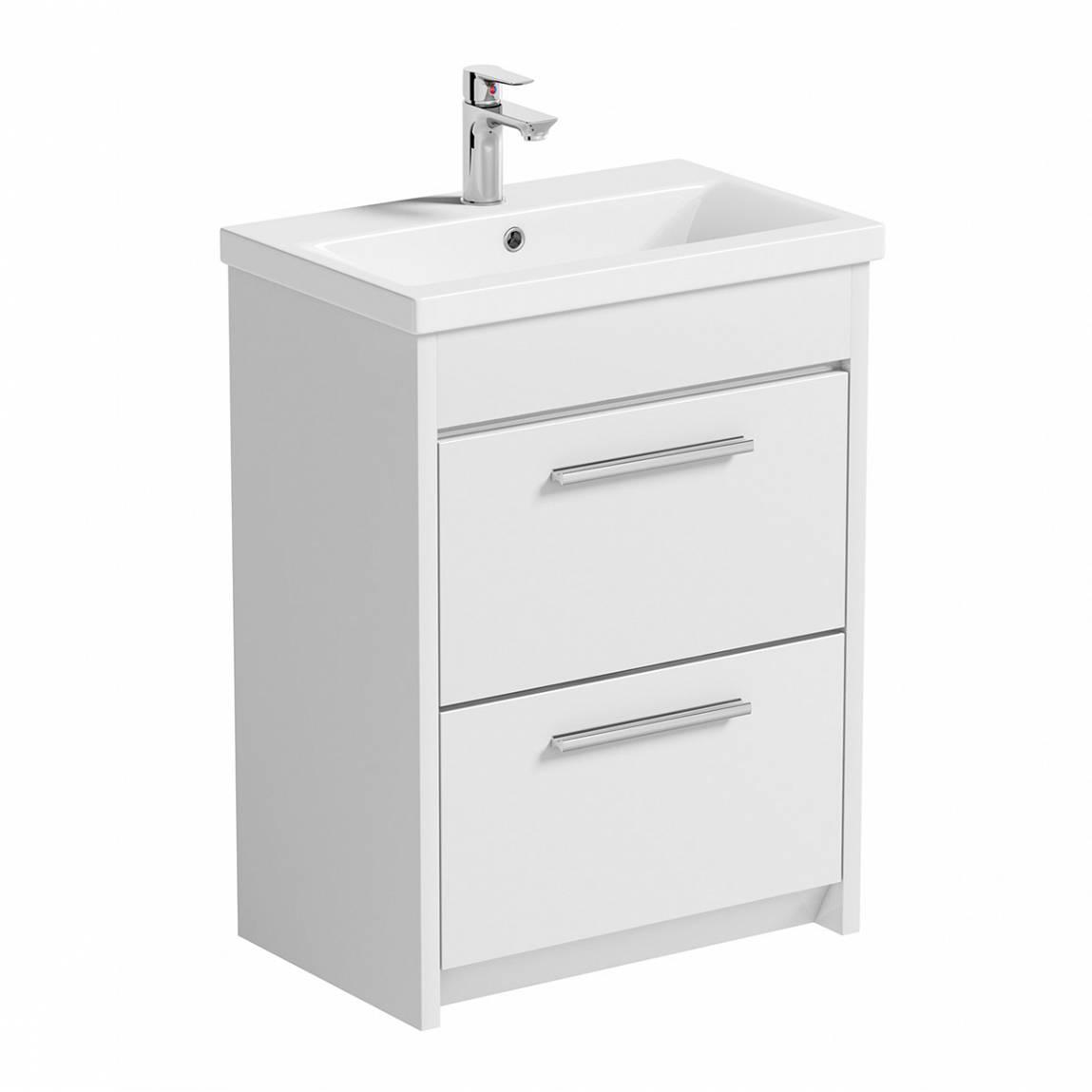 Image of Smart White Floor Mounted 600 Drawer Unit & Basin
