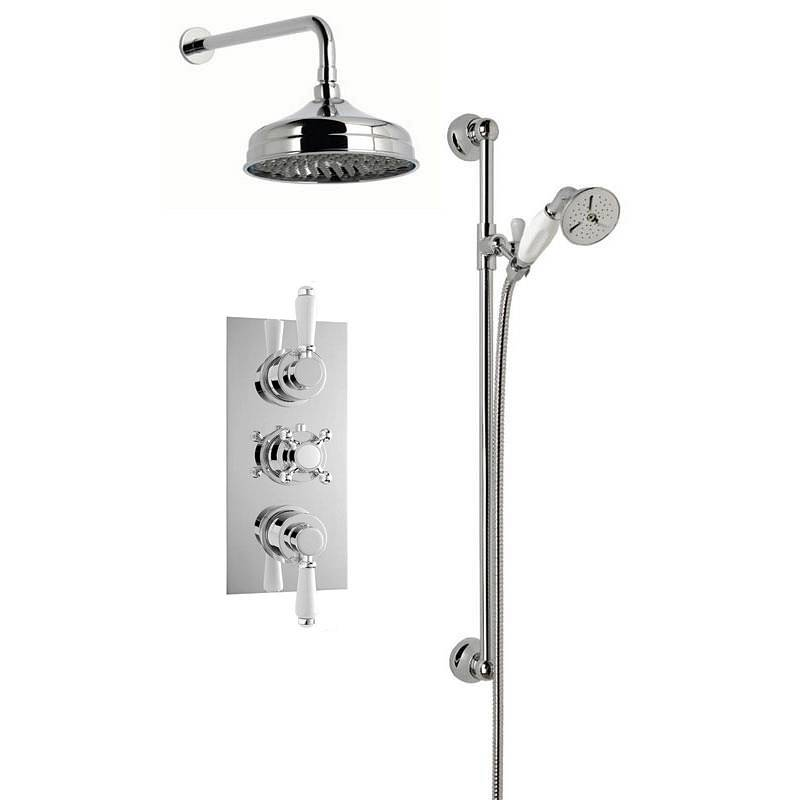 Image of Traditional Thermostatic Triple Valve Complete Shower Set