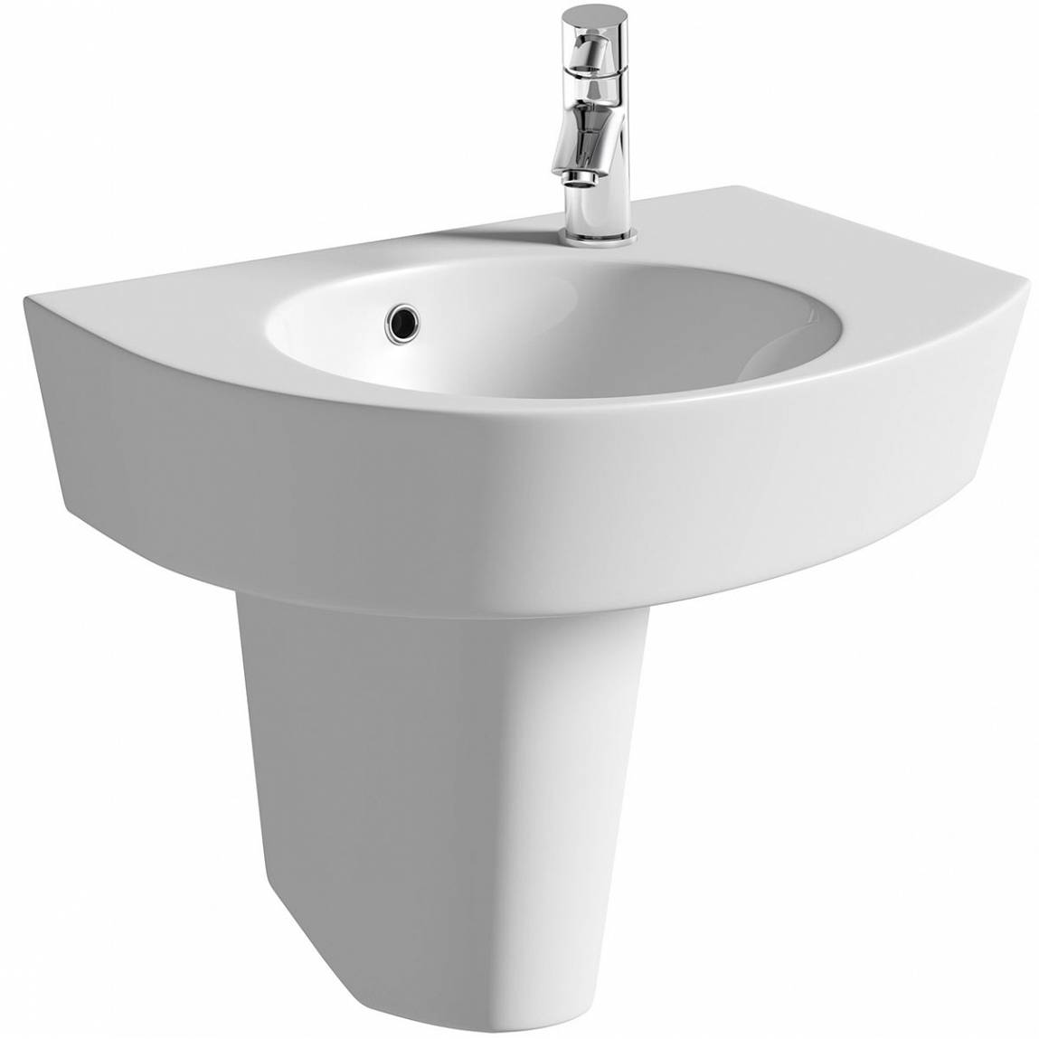 Image of Ancona 1TH 580mm RH Basin & Semi Pedestal PLUS Waste