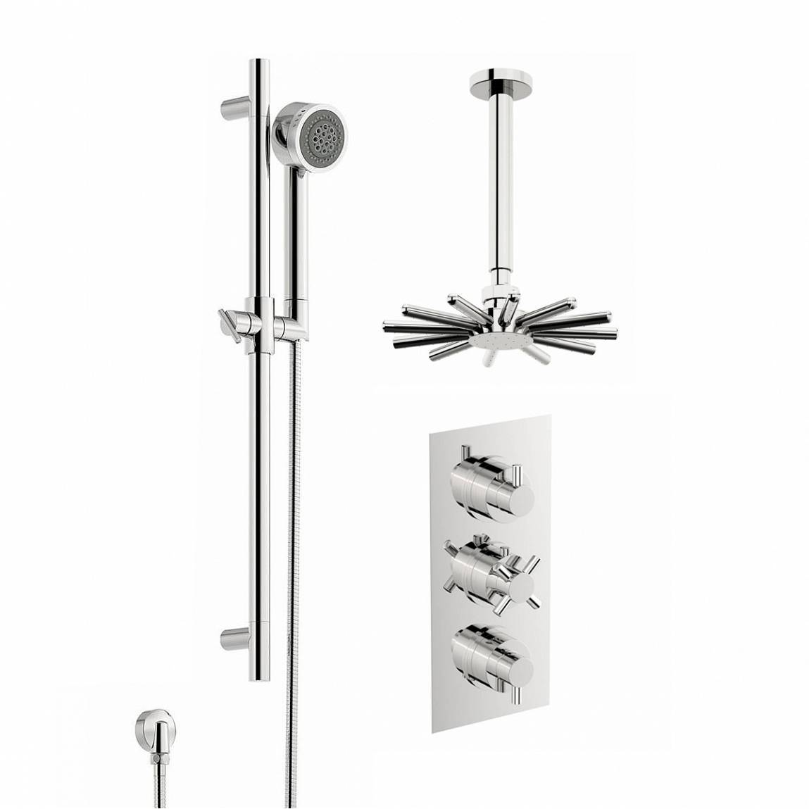 Image of Alexa Thermostatic Triple Valve Complete Shower Set