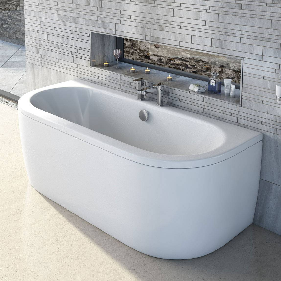 Cayman D Shaped Doubled Ended Back To Wall Bath